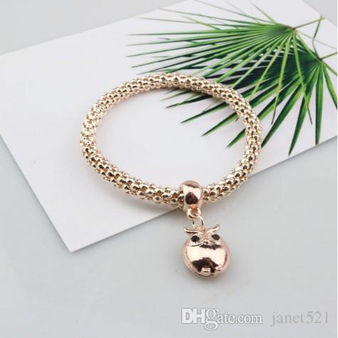 Gold/Silver/Rose Gold Tone Corn Chain Stretch Bracelets for Women