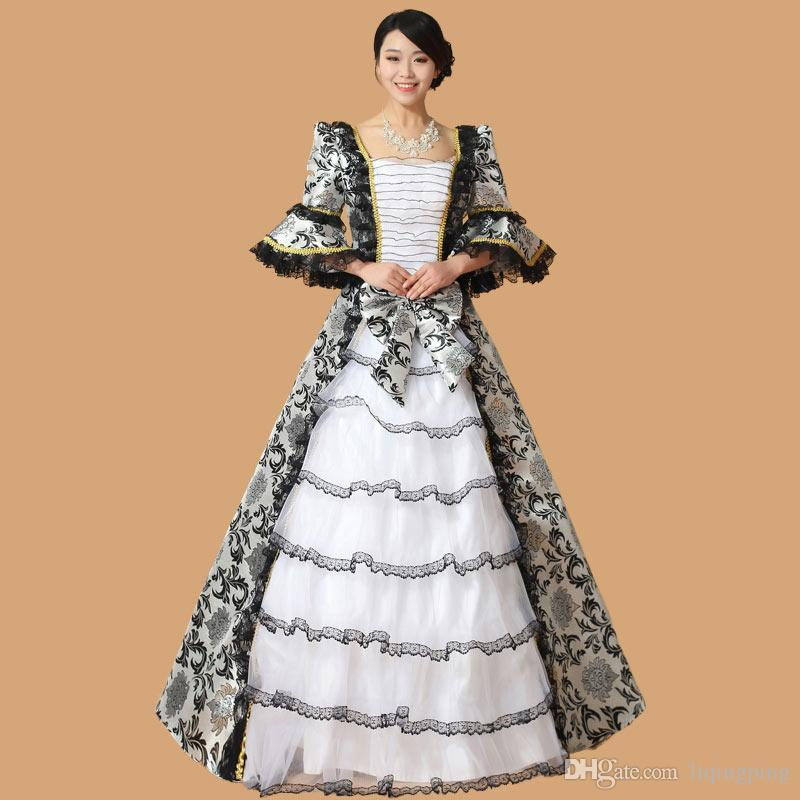 4b32b868c0b Black Floral 17th 18th Century European Court Marie Antoinette Dress  Baroque Rococo Ball Gown Victorian Gothic Dress For Women Strapless Dresses  For Teens ...