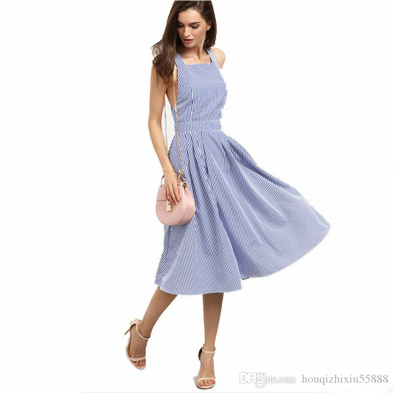 a68a172193 Sexy Midi Dresses Summer Vintage Women Beach Dress Casual A Line Blue  Stripe Backless Ladies Dress Mujer Sundress Cheap Prom Dress Corset Dresses  From ...
