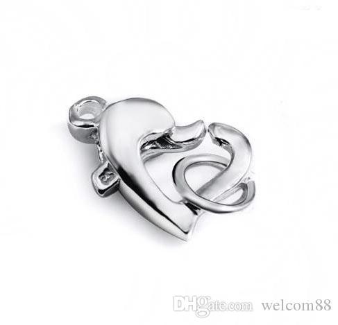 10st / parti 925 Sterling Silver Heart Hummer Claw Clasp för DIY Craft Smycken 9x12mm W292