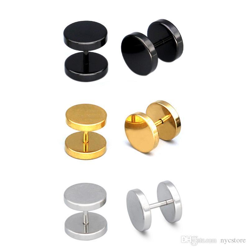Orecchini da bar da uomo in acciaio al titanio da 12 mm con manubri Orecchini a bottone da donna in oro con orecchino in acciaio inossidabile