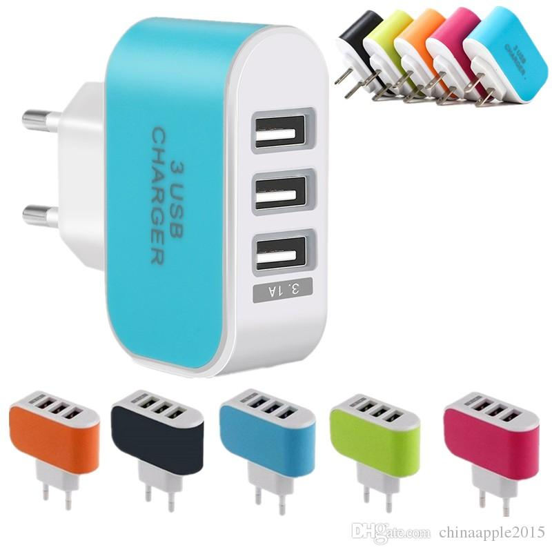 Eu Us cargador de pared 5V 3.1A 3 puertos múltiples LED Adaptador de adaptador de cargador USB de pared inteligente para el iphone 5 6 7 para samsung galaxy s6 s7 edge mp3