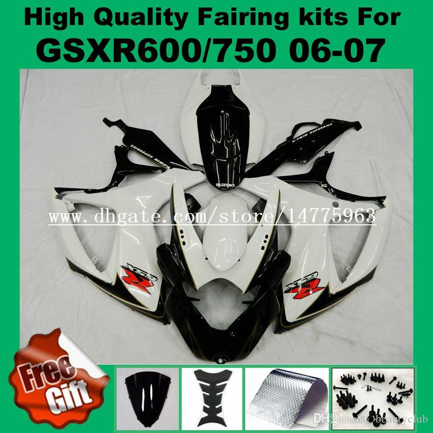 Carénage blanc noir pour SUZUKI GSXR600 GSXR750 06 07 K6 K7 GSX-R600 GSX-R750 2006 2007 kit carénage GSXR 600 750 06 07 + 9Gifts
