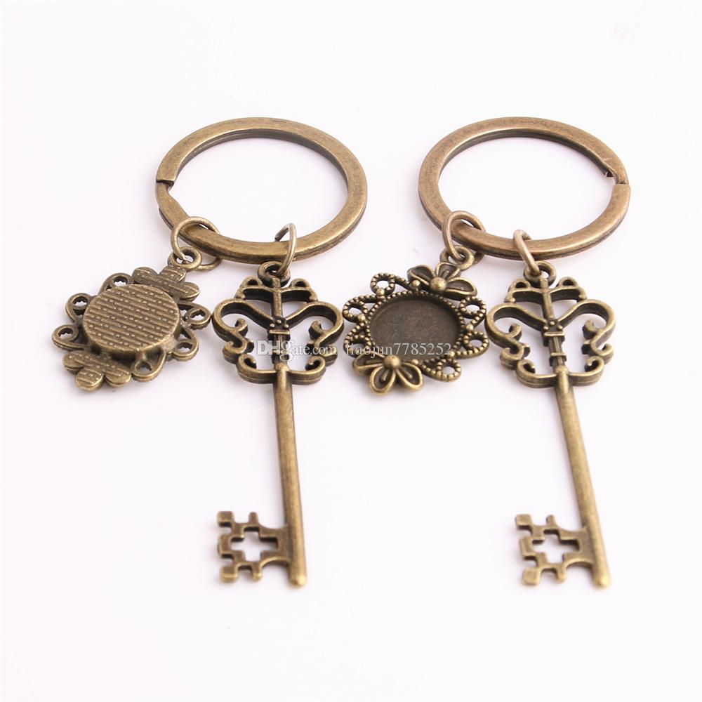 SWEET BELL Metal Alloy Zinc Key Chain Fit Round 12.5mm Cabochon Base Key Charm Pendant Jewelry Making C0897
