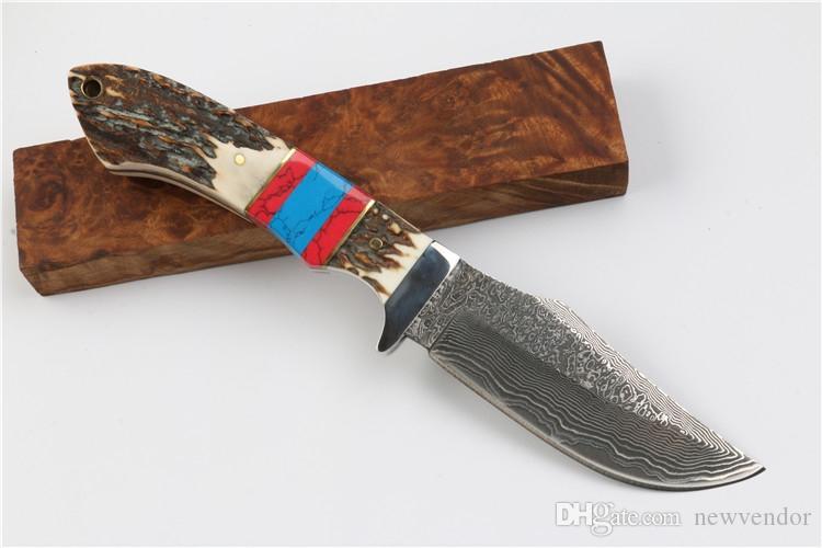 Новый Дамаск Bowie лезвия охотничий нож Antler Handle Открытый Отдых Туризм выживания Прямые ножи EDC карманный нож