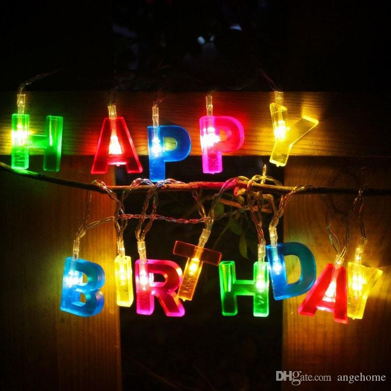 Happy Birthday Lights 13 LED Letter Battery Operated String Party Decor Supplies For Indoor Home House Decorations Balloons