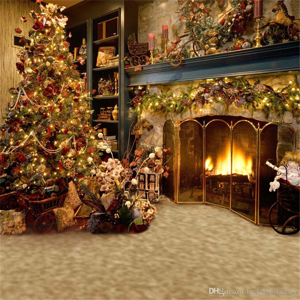2018 indoor fireplace photography backdrops christmas tree decorated family gifts children kid holiday studio photo shoot background vinyl fabric from