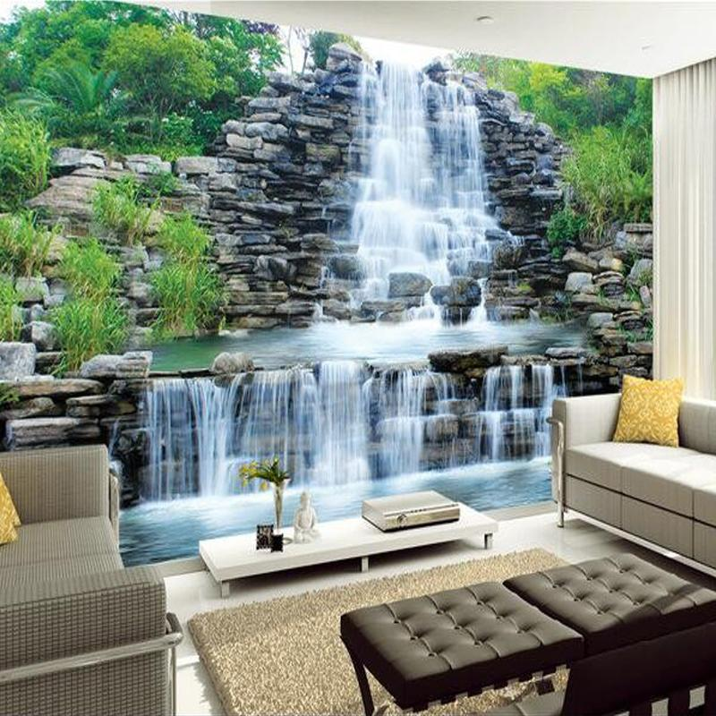 Wholesale-Custom 3D Mural Wallpaper Water Flowing Waterfall Nature Landscape Wall Painting Art Mural Wallpaper Living Room Bedroom Decor