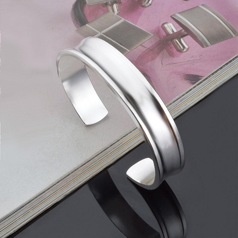 Top wholesale 925 sterling silver jewelry bangles charms ethnic wedding vintage Vela concave smooth bright bracelet bangle