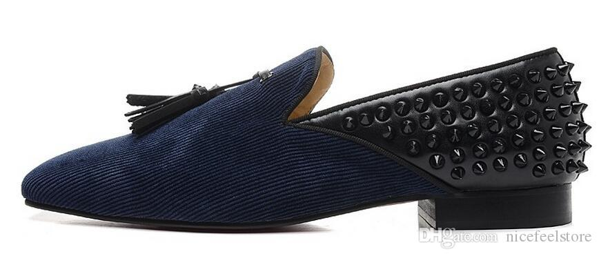 Black Suede rivets studs and spikes studded leather loafers wedding Stress leopard print shoesflats for men