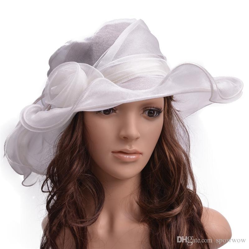 Organza Womens Dress Chapeau d'église Kentucky Derby Wide Capuchon De Fleur De Bord De Mariage Chapeau De Thé De Mariage A452