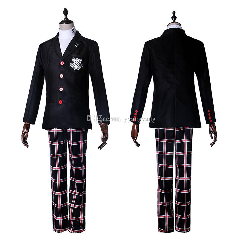 Persona 5 Leading Character Hero Joker Cosplay Outfit Clothing Full School Uniform Set Halloween ...