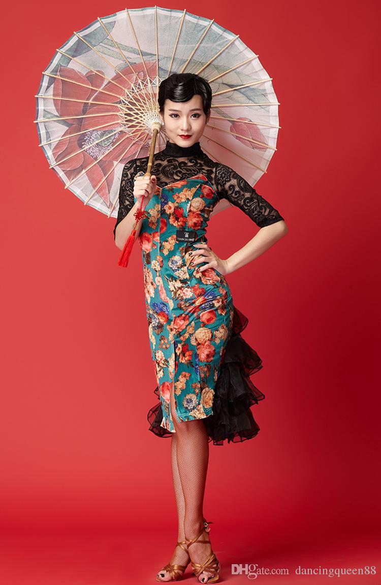 94161838ab8a 2019 Lace Sleeve Latin Dance Dress Kids Tango Dress Female Salsa Rumba  Costumes Small Fishtail Skirt Canopy Awning Velvet Girl Dance Wear From ...