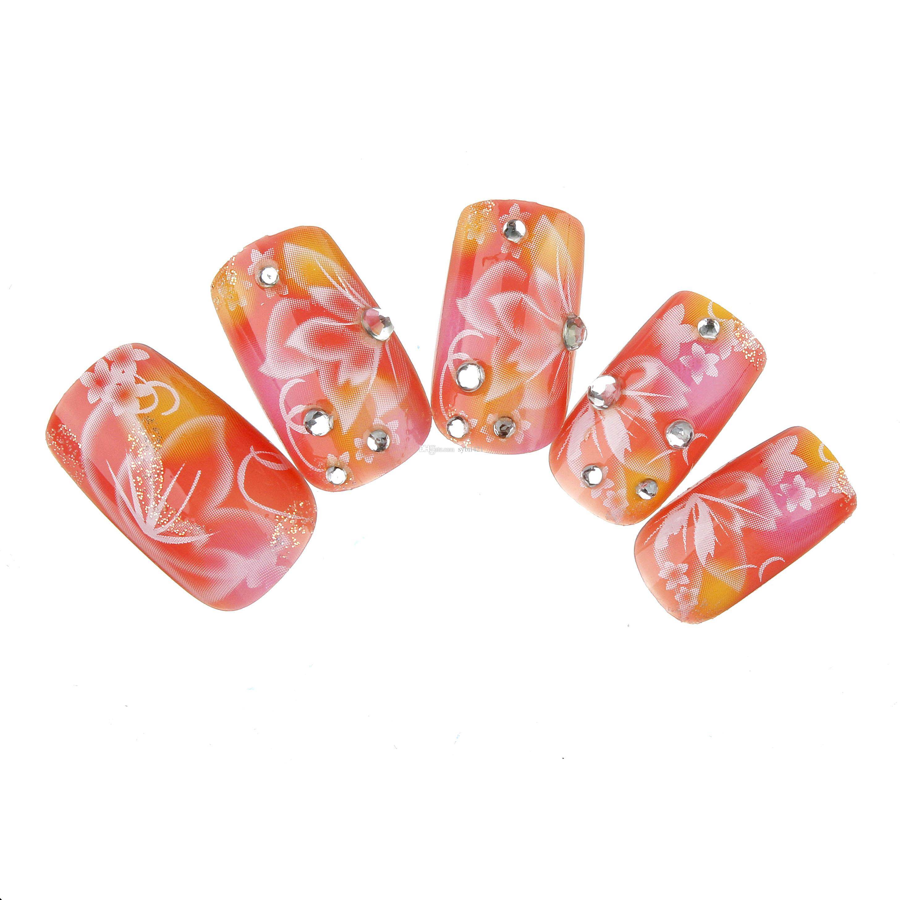 Hot Sale Set Japanese Style Flowers False Nails Full Cover