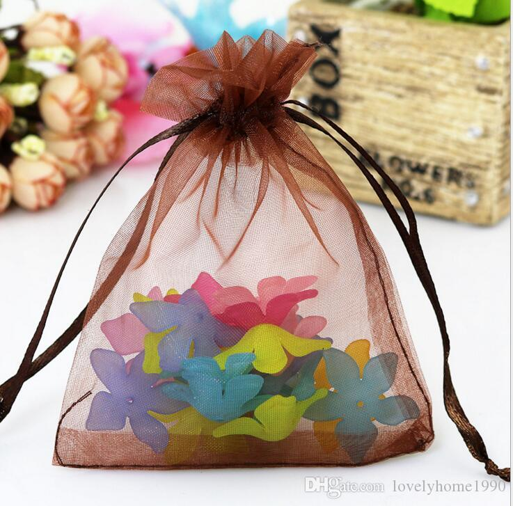 12size Wholesale i Christmas Wedding Voile Gift Bag Farfalla Organza Bag Jewelry Packing Coulisse Pouch JJAL