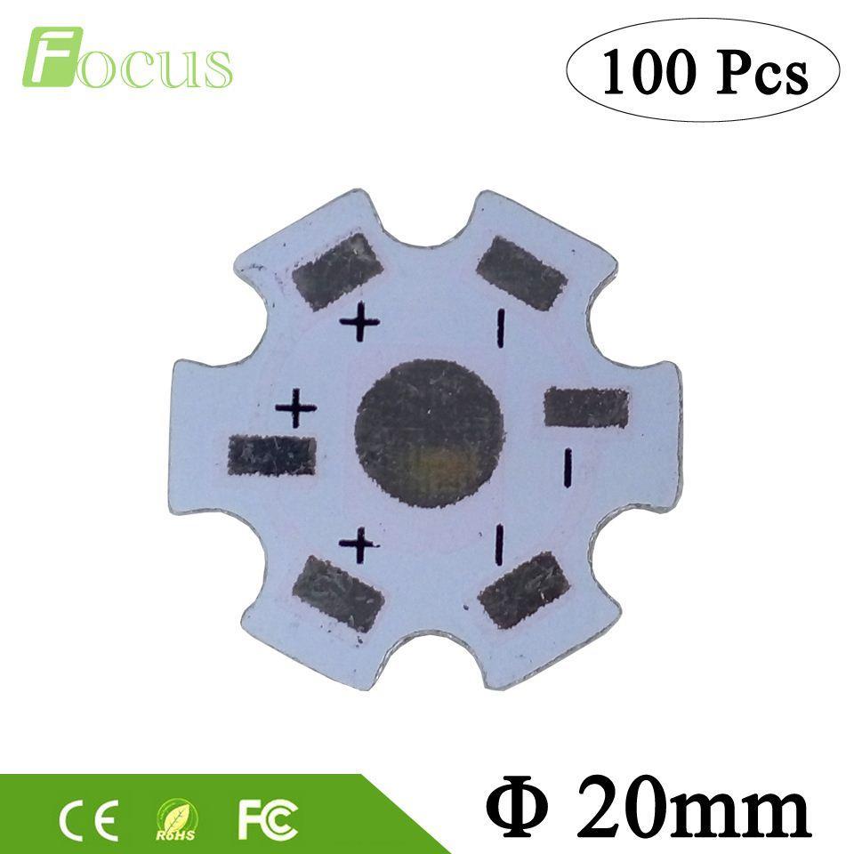 100pcs 1W 3W 5W LED Aluminum Heat sink Base Plate 20mm Heat Sink Star PCB  Board DIY for 1 3 5 W Watt High Power LED Light beads