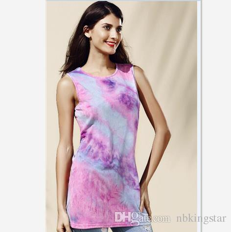Women Tie Dye Short Vest Dress 2017 Summer Loose Gradient O neck Female Mini T Shirt Tank Dresses