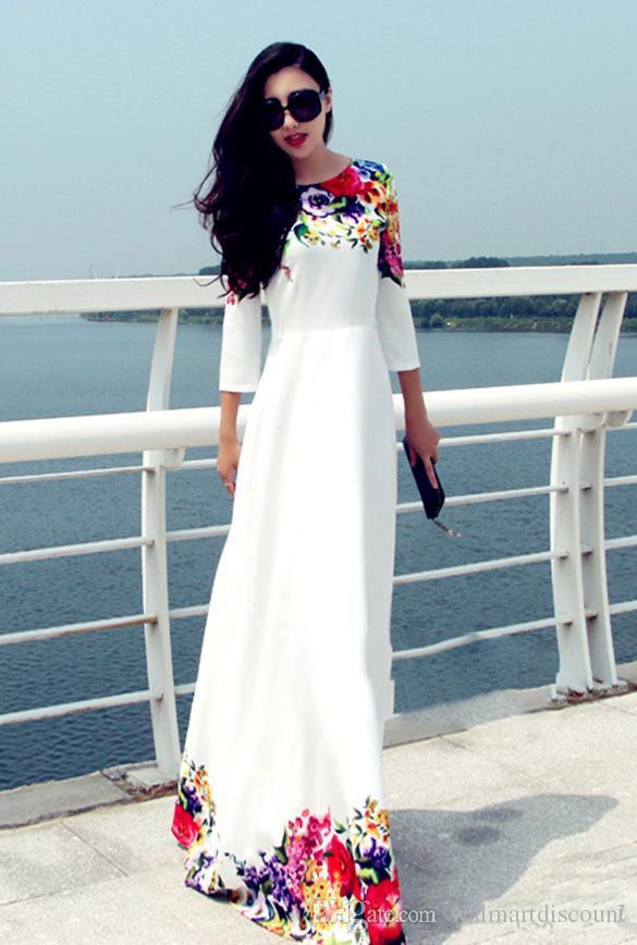 2017 Длинные Женщины Бальные платья белый Цветочные печати Maxi Boho пляж платье плюс размер Мантия Casual Платье Лонго Ropa Mujer