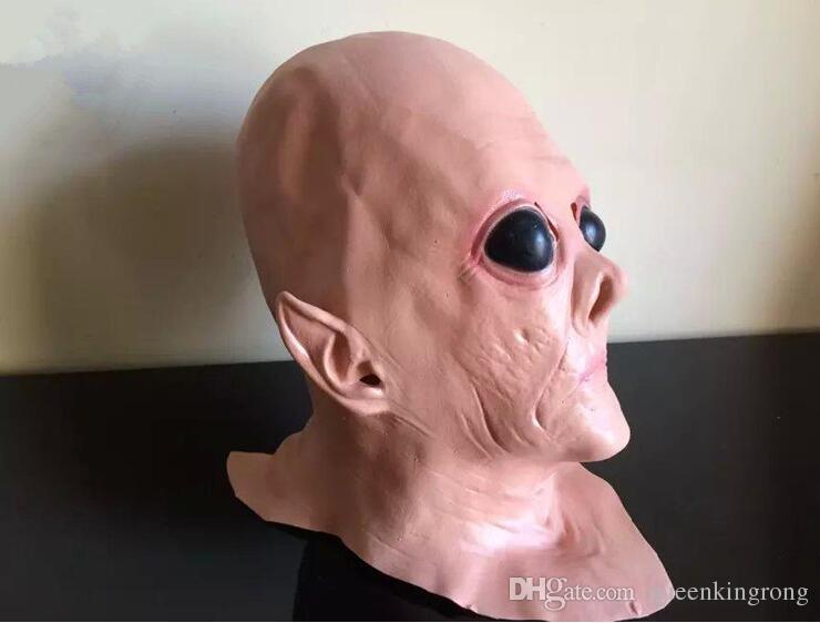 Realistico UFO Alien Head Maschera in lattice Cosplay Creepy Saucer Man Full Face Halloween Party Mask Horror Ghost Mask Mask