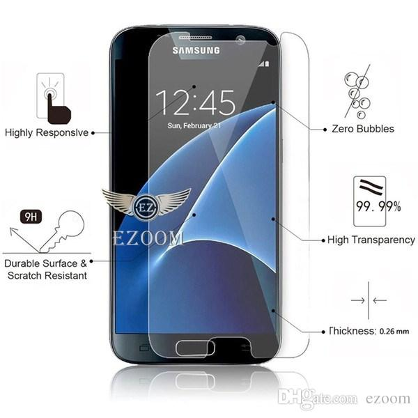 For Samsung S6 S7 A7 A9 J5 J7 2017 Tempered Glass Screen Protectors 2.5D Explosion Shatter Screen Protector 9H Hardness Paper Package