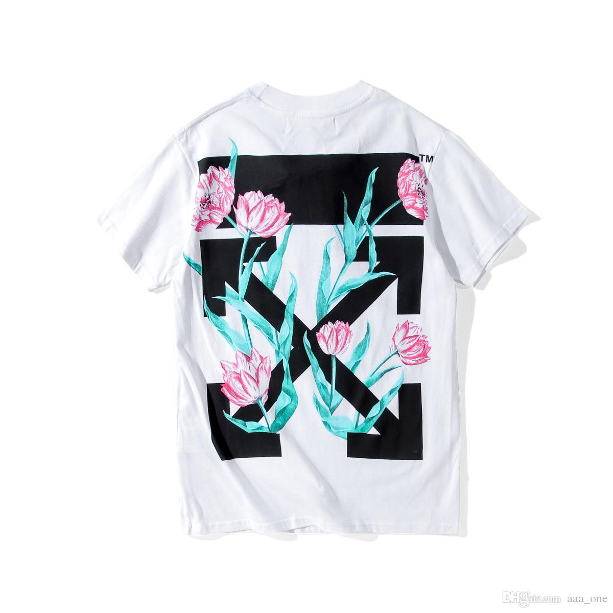 Summer t shirt off white tulip flower arrows black white tee men summer t shirt off white tulip flower arrows black white tee men short sleeve cotton shirts kanye west religion painting tees virgil abloh t shirt buy mightylinksfo
