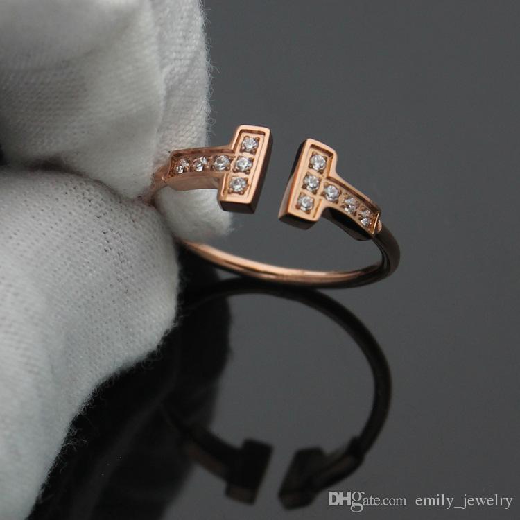 Yeni gül altın gümüş kaplı titanium çelik açılış çift T mektubu yüzükler kadınlar için moda kristal parmak aşk yüzük bague femme erkekler yüzükler