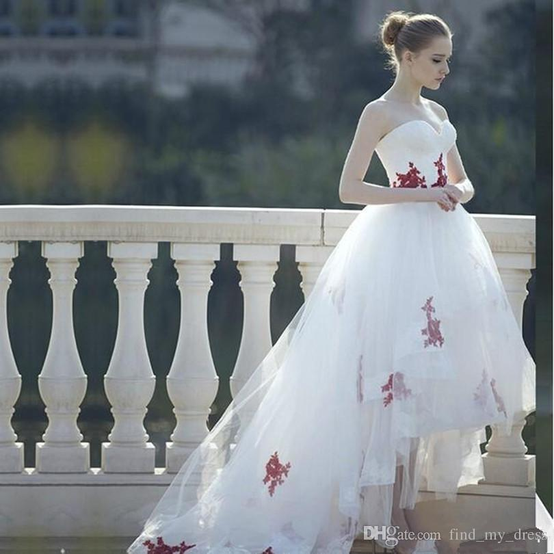 Discount Castle White And Red Appliques Princess Wedding Dresses