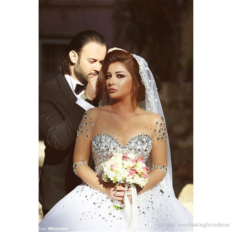 Saidmhamad Sheer chérie cristaux lourds boule Robes longues robe de mariée En stock Robe de mariée robe de Noiva
