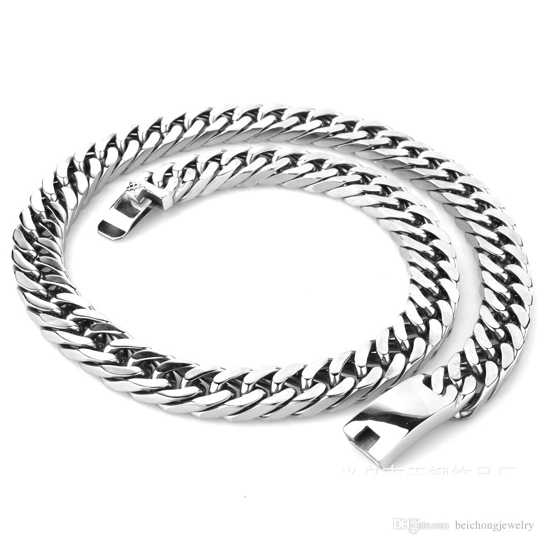 Beichong Stainless steel jewelry classic style jewelry chain NK Silver 60cm length thick chain men necklace