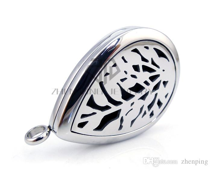 Chains as gifts Oil Drop Silver Leaf 30mm E Aromatherapy / Essential Oils Diffuser Locket Necklace Stainless Steel Diffuser Locket