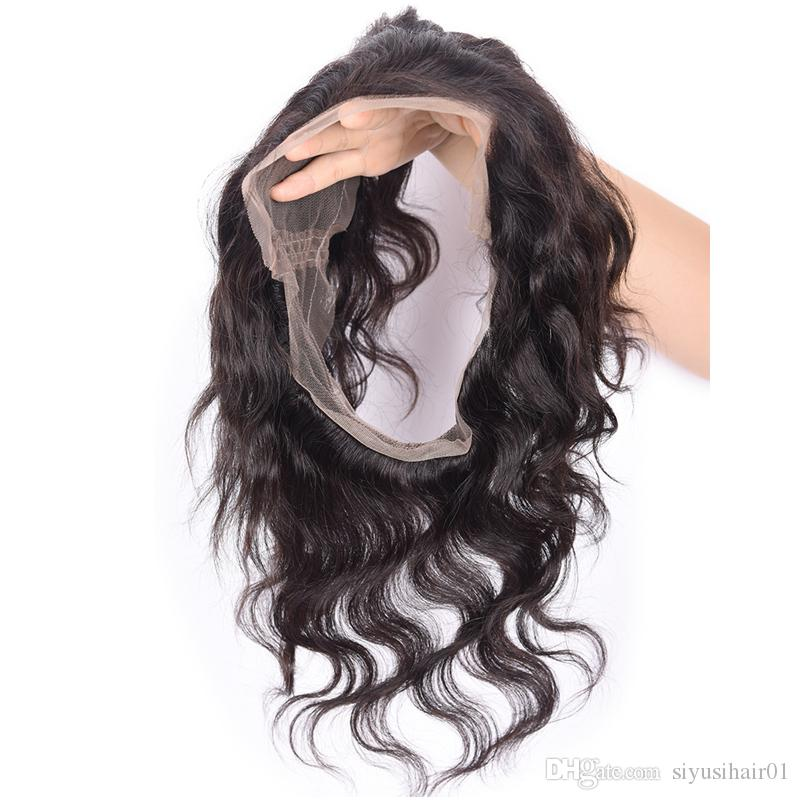 الخام الهندي الماليزي بيرو الشعر 360 الدانتيل أمامي البرازيلي العذراء الشعر غير المجهزة الجسم موجة الإنسان نسج الشعر 360 الدانتيل أمامي مع bundl