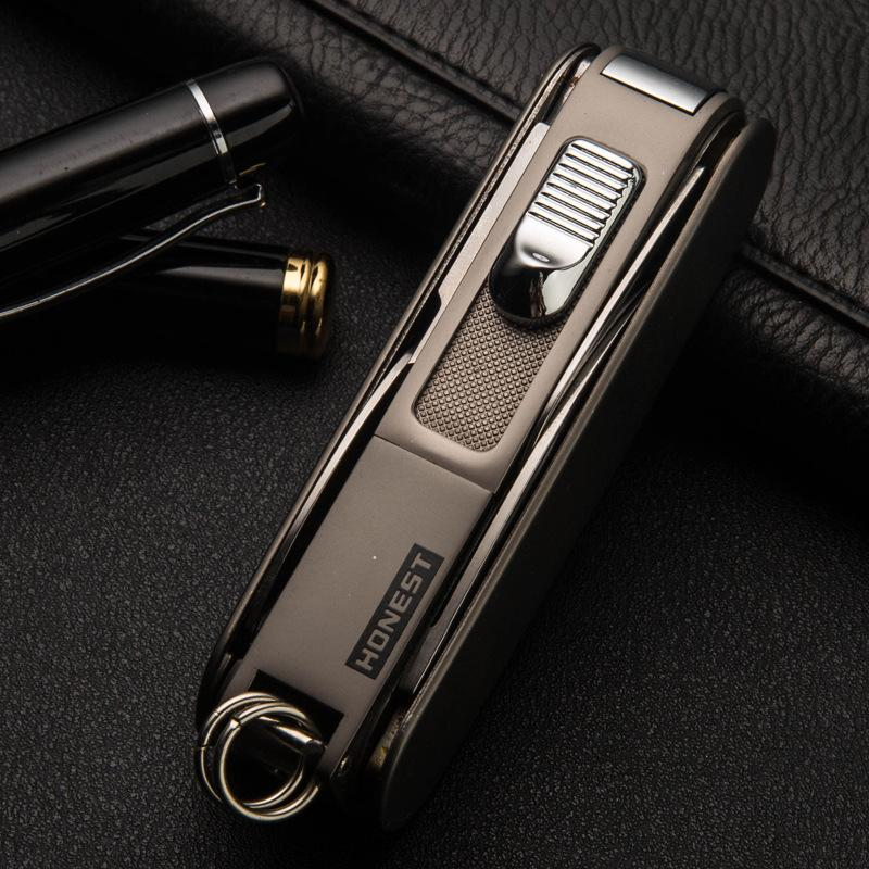 Hot HONEST Good quality Multi-function outdoor inflatable metal lighter jet lighter torch lighters with gift box