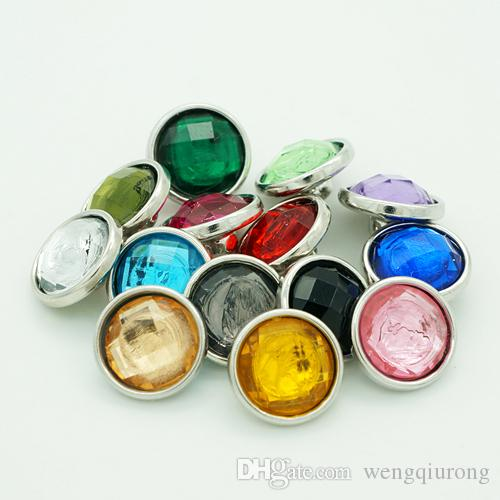 Hot sale Beauty NSful mixed Multi-faceted resin 12MM snap buttons for DIY ginger snap bracelets Accessories charm jewelry
