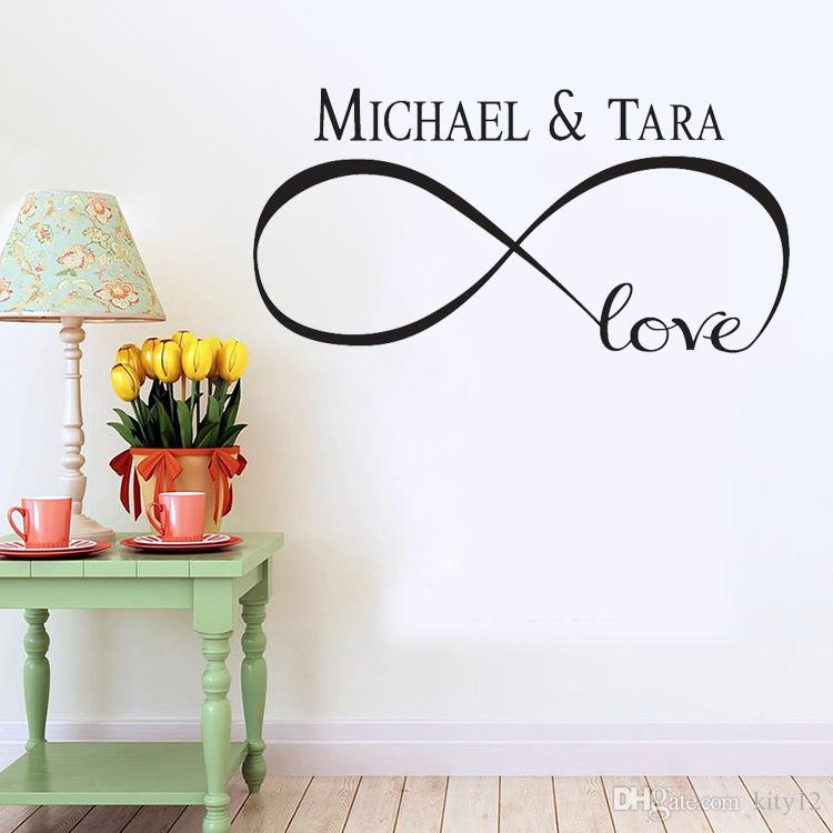 New Personalized Infinity Symbol LOVE Bedroom Wall Decal Quotes Vinyl Wall Stickers Butterflies Vinly