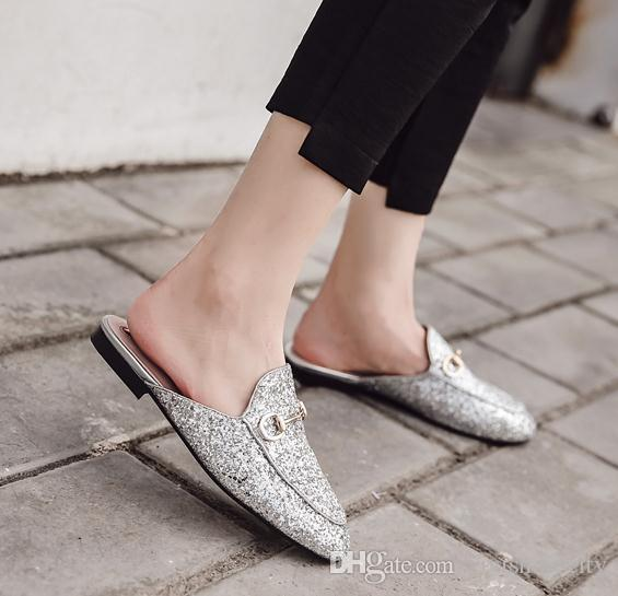 5c4b99ed6d3 Womens Flat Heel Mule Glitter Pink Silver Sequined Slipper Size 35 To 39  Nude Shoes Womens Sandals From Vivishoescity