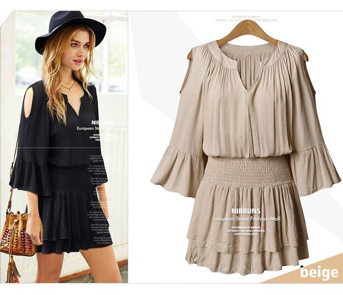 New Women Summer Chiffon Short Dress Off Shoulder Slim Elastic Waist ...