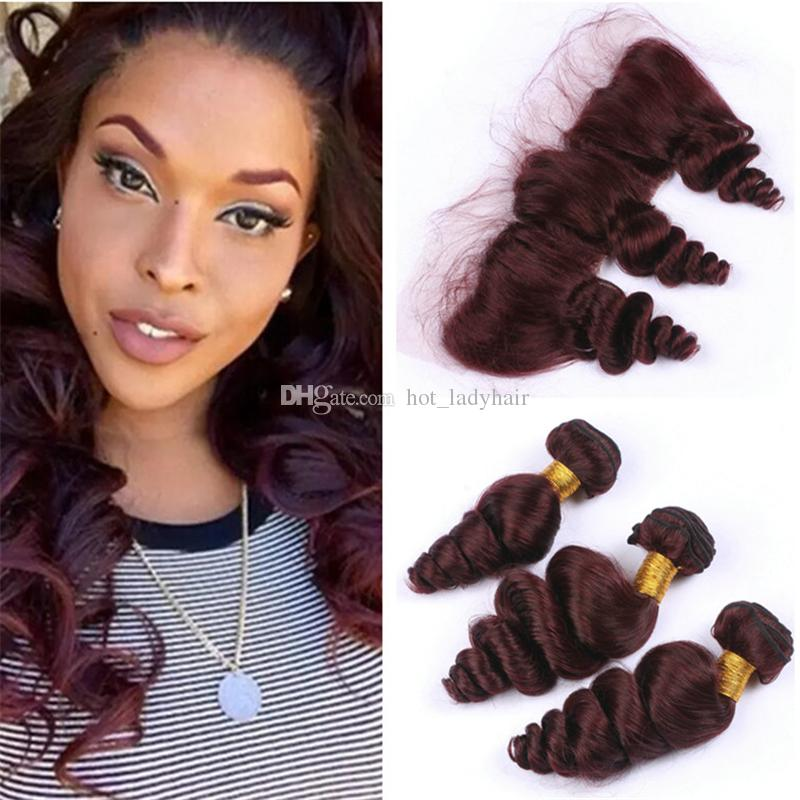 Cheap burgundy brazilian loose wave virgin hair 3 bundles with cheap burgundy brazilian loose wave virgin hair 3 bundles with lace frontal closure pure 99j wine red human hair weaves with lace frontals best weave hair pmusecretfo Images