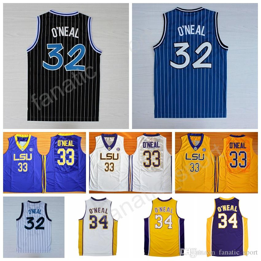 885930ec761 ... 2017 Men 32 Shaquille O Neal Jersey 34 Throwback Lsu Tigers College 33  Shaquille Oneal Basketball ...