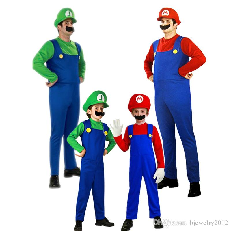 halloween costume source adults and kids super mario bros cosplay costume set children