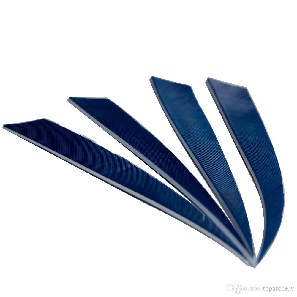 5 '' plumes de l'aile droite pour les flèches de bois de bambou en fibre de verre tir à l'arc flèches de chasse et de tir bleu