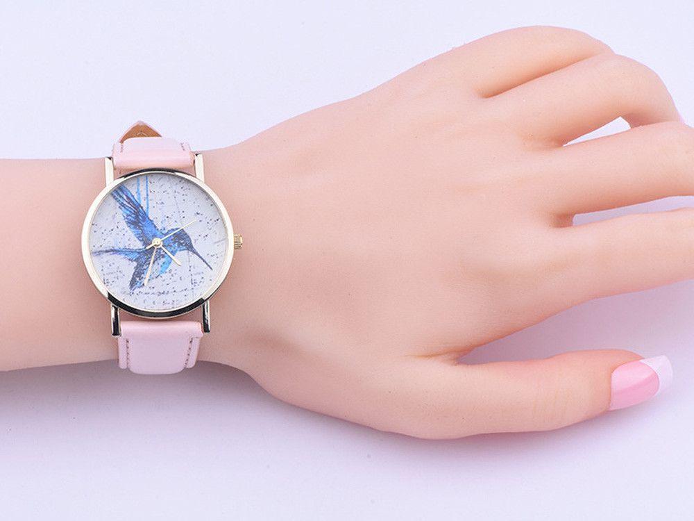Kuvars İzle markalı saatler kadınlar saatler Kadınlar Kuş Desen Deri Analog Kuvars Bilek İzle