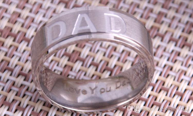 Hot Sale Mens 7mm Silver Black Gold Titanium DAD Ring Engraved Love You Dad Men's Jewelry Father Day Gift Stainless Steel Band Ring
