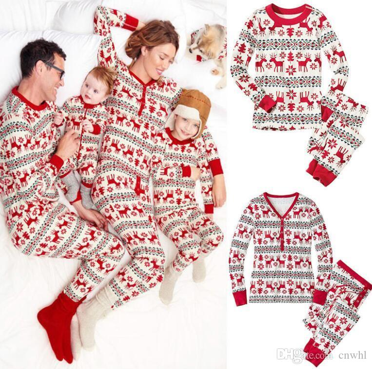 fashion family matching christmas pajamas mother daughter father son clothes sets long sleeve sleeping wear family style set mother and daughter matching