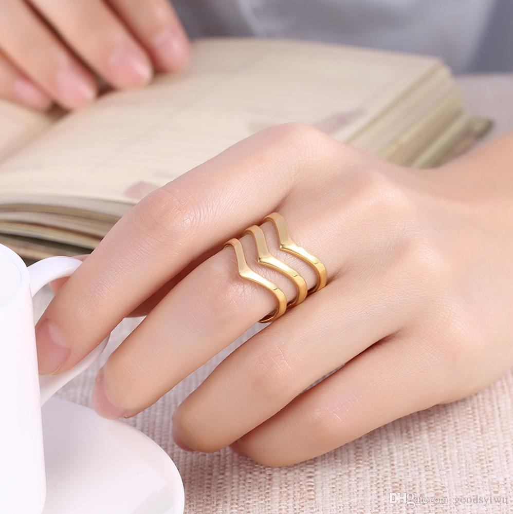 New 316L Stainless Steel Ring Jewelry Titanium Steel Rings Hollow lines C shape open geometric Finger rings gift for women Large size TGR195