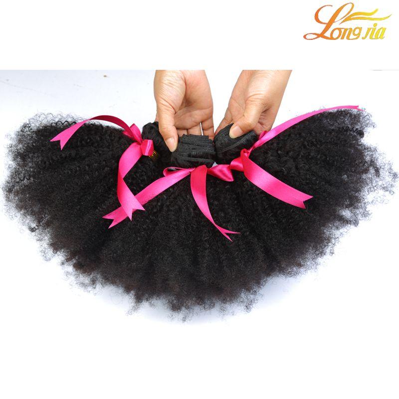 100% Brasileño Afro Kinky Paquetes rizados Trama de cabello humano Color natural Extensiones de cabello Remy para mujeres negras Envío gratis Longjia Hair Company