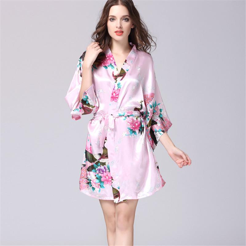 2018 Wholesale S Xxl Pink Short Silk Kimono Robe Satin Robes For Women Dressing Gown Wedding Bridesmaid Spa Bath 00 From Primali