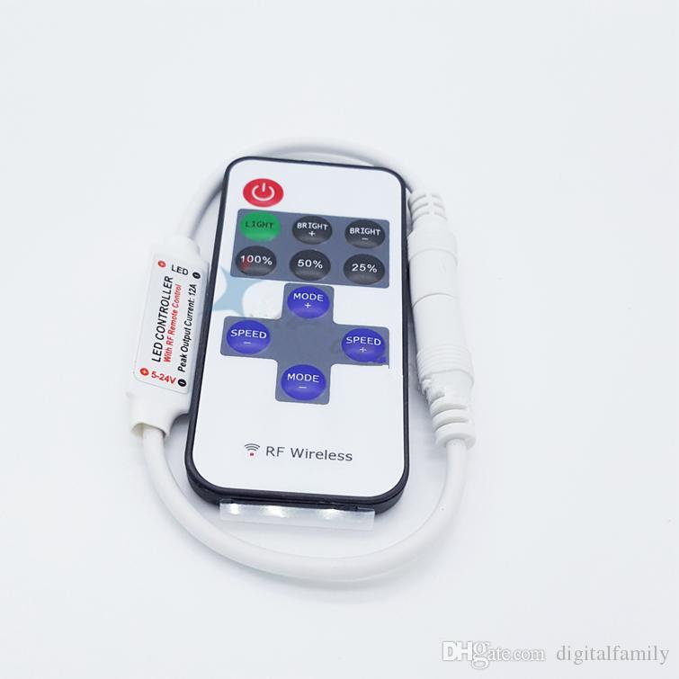 Hot Sale Led Dimmer Mini Controller Wireless RF Remote Controller for Single Color 5050/3528 Strip Light use 11 keys DHL