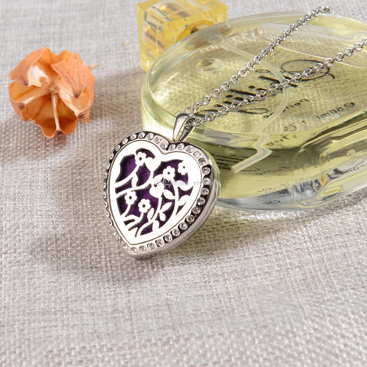 Ätherisches Öl Diffusor Aromatherapie Halskette-30MM Blumen Herz Strass Medaillon Anhänger, 10 Refill Pads