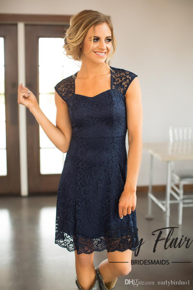 Dark Navy New Country Style Bridesmaid Dresses Modest Full Lace A Line Knee Length Wedding Guests Wear Cheap Maid Party Dresses