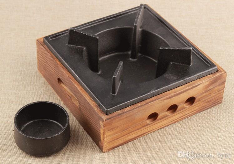 Taşınabilir mini dökme demir barbekü soba teppanyaki barbekü ızgara Tek çift için dökme demir tava ve soba 024-1